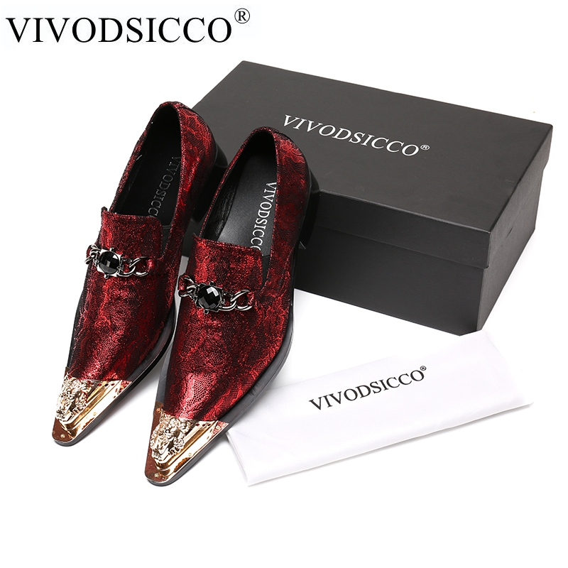 VIVODSICCO New Men Dress Shoes Fashion Style Man Genuine Leather Wedding Shoes Social Sapato Male Oxfords Flats Shoes Sapatos fashion 925 sterling silver vintage nature beeswax