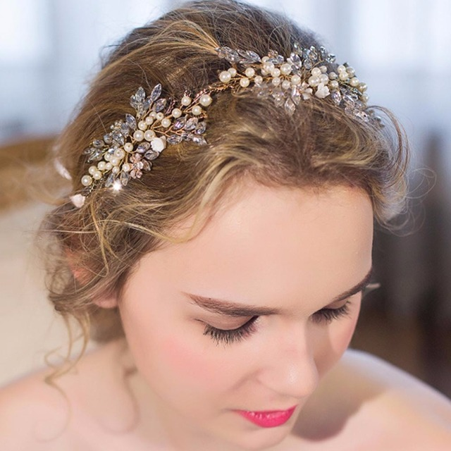 Top Quality bridal Wedding Party jewelry Gold sliver Leaves Pearl Headbands  Flower Head Piece Bride Vintage Hair bands db728eecf6d