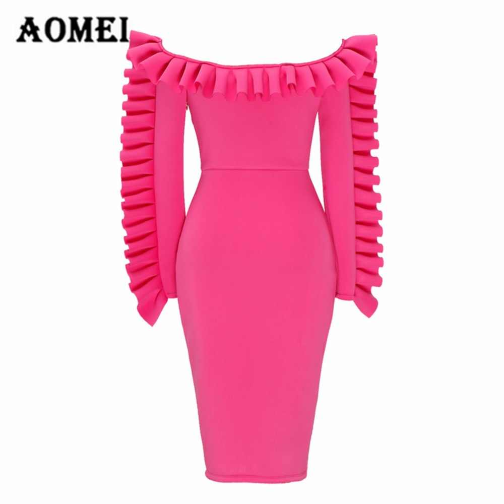 9f2744be4b Ladies Sexy Off Shoulder Burgundy Dress Slim Fashion Package Hip Strapless  Tube Ruffles Dresses Body con