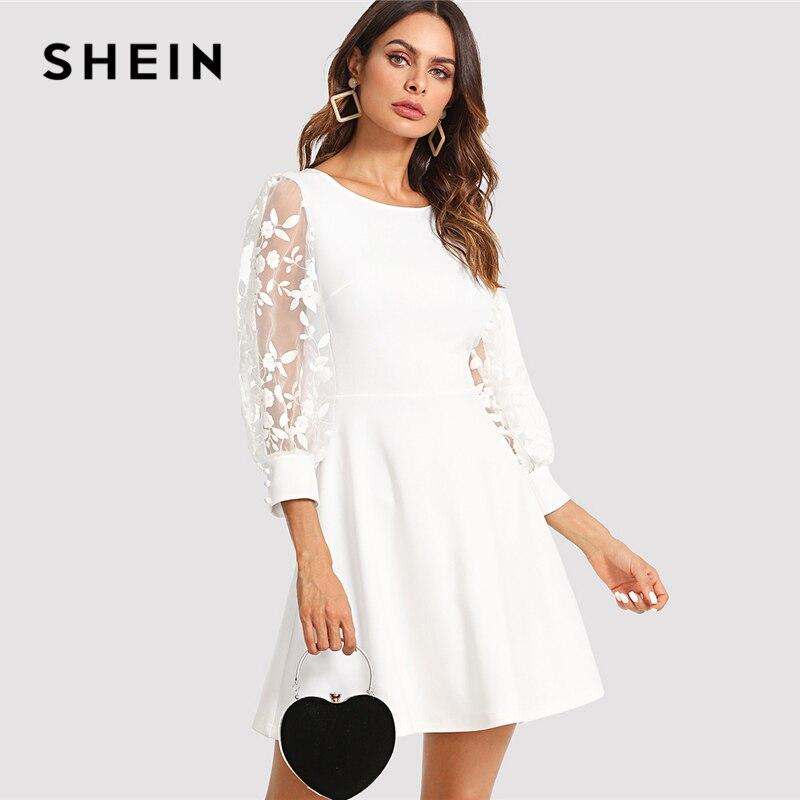 Aliexpress Com Buy Elegant Flare Sleeve Wedding Dress: Aliexpress.com : Buy SHEIN Embroidered Mesh Bishop Sleeve