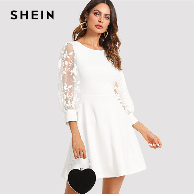 4a78f9d7c41f7 SHEIN Embroidered Mesh Bishop Sleeve Fit   Flare Dress 2018 Summer Round  Neck Fashion White Dress Women Elegant Embroidery Dress