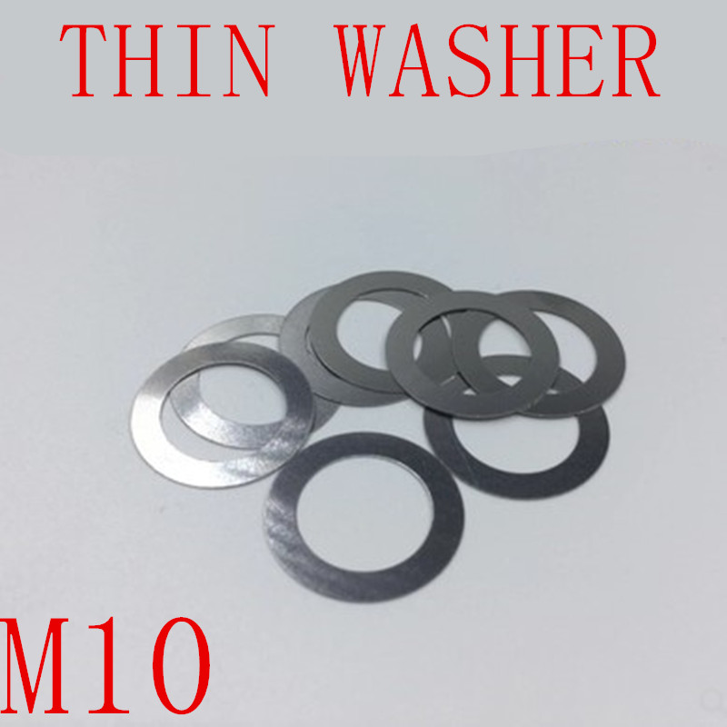 100PCS M10 thin washer 0.2mm 0.3mm 0.5mm Stainless Steel 304 Ultra-thin Flat Washer Gasket Gap Adjustment washer image