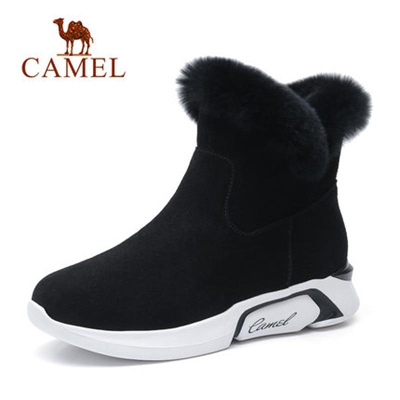 CAME Ankle Furry Snow Boots Shoes 2018 Winter Leisure Snow Boots Shoes Women Plus Velvet Non