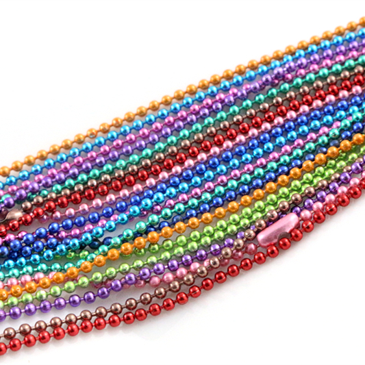 5pcs 1.5 2.0 2.4mm Length 70cm (27.5 Inch) 10 Colors Plated Ball Beads Chain Necklace Bead Connector For Charms Base And Tray