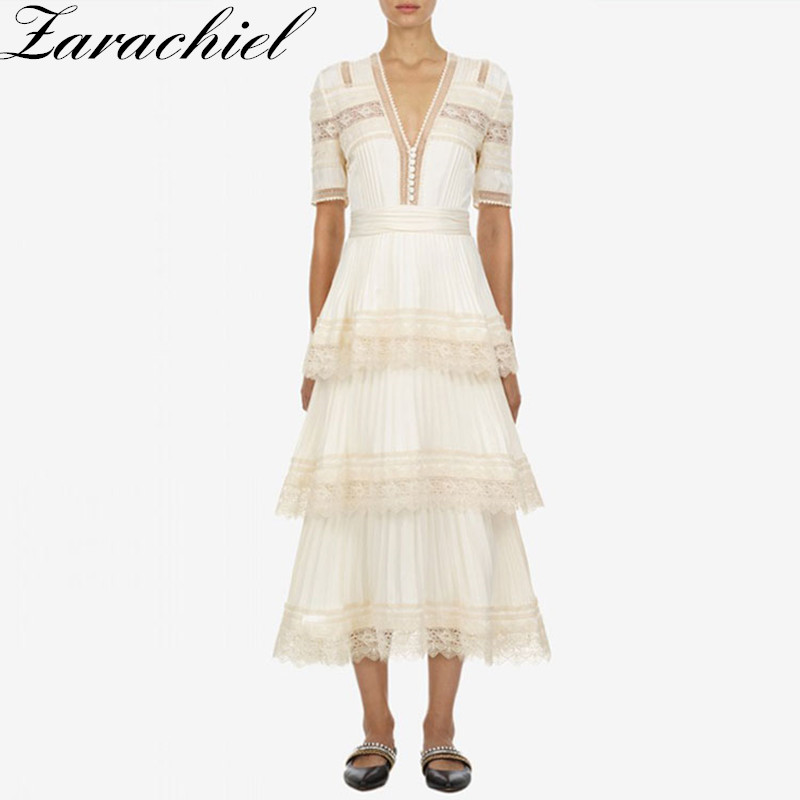 Self portrait Vintage Lace Embroidery Patchwork Layer Cake Pleated Dress 2019 summer Women Short Sleeve V Neck Long Party Dress-in Dresses from Women's Clothing    1