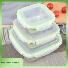 3PCs Leak-proof 304 Stainless Steel Lunch Box Square Microwave Induction Cooker Heating Bowl Sealed Fresh-keeping Food Container