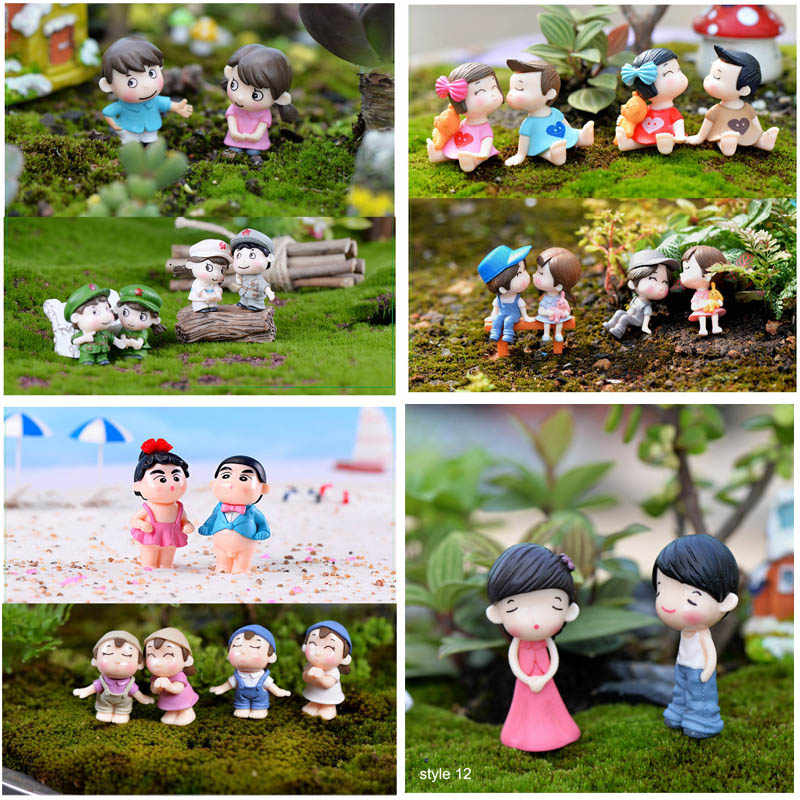 Fairy Garden Boy Girl Children Toy Home Decor Resin Crafts 1 Pair Moss Miniature landscape Sweety Lovers Couple Terrariums