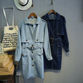 New 2016 BF Loose Blue Solid Long Style Denim Women's Trench Feminine Waist Belt Button Pockets Outerwears Tops Female Clothing
