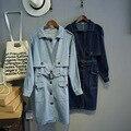 Novo 2016 BF solto azul sólido longo estilo Denim mulheres do Trench cintura feminina cinto botão Pockets Outerwears Tops vestuário feminino