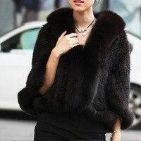 Mink Fur Mink Fur Knitted Outerwear Cape Fox Fur Vest