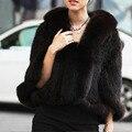 Para mujer del otoño invierno genuino punto de visón chales mujeres Fox cuello de piel de piel de Pashmina Wraps nupcial cabo chaqueta de la capa