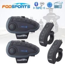 2 шт. V8 BT переговорные 5 всадников Bluetooth мотоцикл домофон 1200 м Intercomunicador с пульта дистанционного управления FM NFC