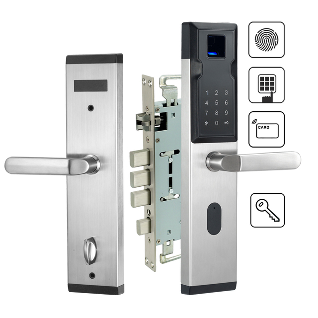 Electronic Biometric Fingerprint Door Lock For Home Security With RFID Card Reader 304 Stainless Steel