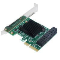 6 Port SATA 3.0 6Gbps PCI Express Expansion Card Adapter Riser Single Port Up to 500Mb ASMedia 1061 + 1093 x2 Chipset for Mining