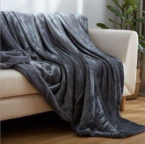 Image 3 - CAMMITEVER Thuis Textiel Flanellen Lam Kasjmier Dubbele Dikke Deken Met Mouwen Op Het Bed Solide Pluizige Linnen Sprei