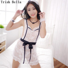 Lace transparent Camisole apron Hollow out Maid Pajamas Backless sexy lingerie erotic underwear lenceria langerie babydoll