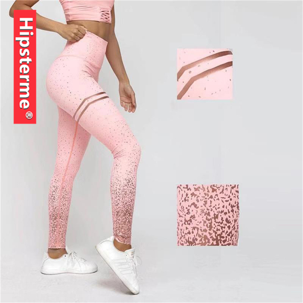 New 2019 Stamping Sequins Fitness   Leggings   High Waist Leggins for Women Sporting Workout Jogging Elastic Slim Pants Sexy Trouser