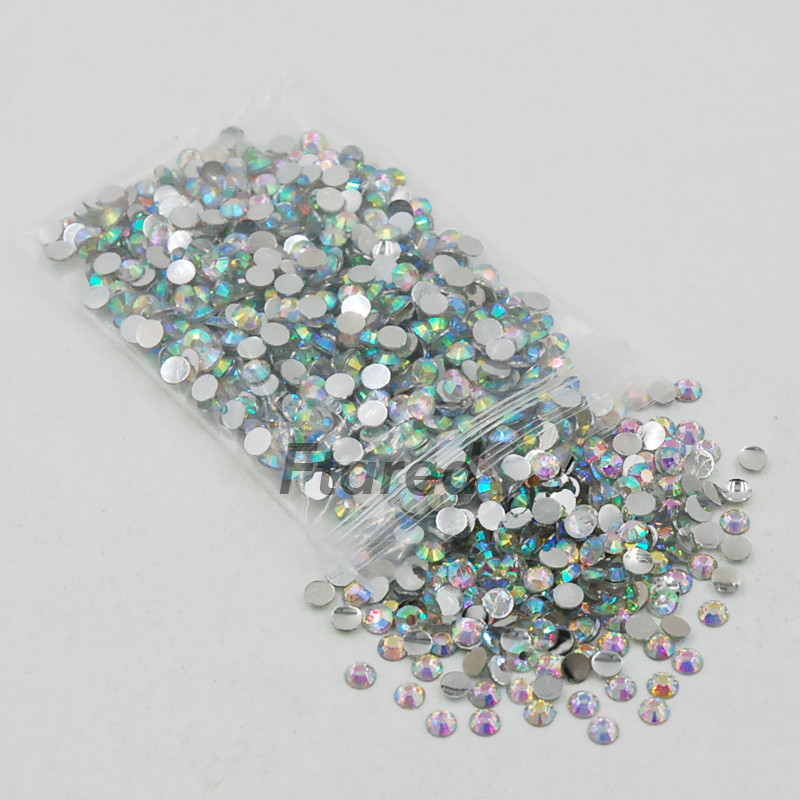 Super Shiny 5000p SS16 4mm Crystal Clear AB Non hotfix Rhinestones for 3D Nail Art Decoration Flatback Rhinestones DIY super shiny 1440pcs ss8 2 3 2 4mm clear ab glitter non hotfix crystal ab color 3d nail art decorations flatback rhinestones 8ss