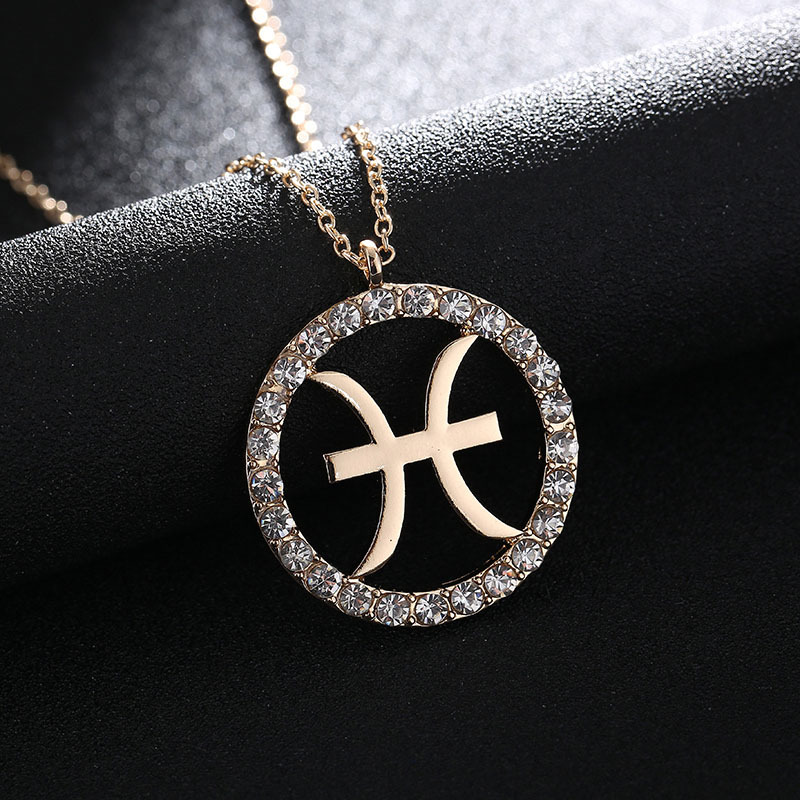 1 Pc Women Girls Pendant Necklace Crystal Zodiac Sign Necklaces 12 Constellation Jewelry Gifts CX17