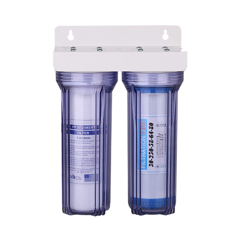 2 Level Kitchen Direct Drinking Water Purifier Pre Filter Housing PP Cotton Filter Granular Activated Carbon