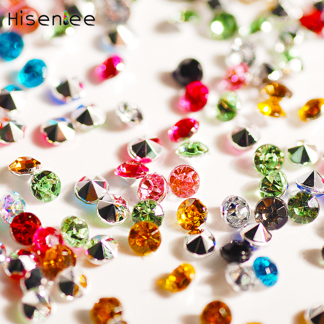 35cc025470 US $1.24 10% OFF|1.5mm~10mm Glitter Rhinestones Crystal Point back Strass  Sewing or Fabric DIY Decoration Acrylic Diamond Nail Art Stone-in ...