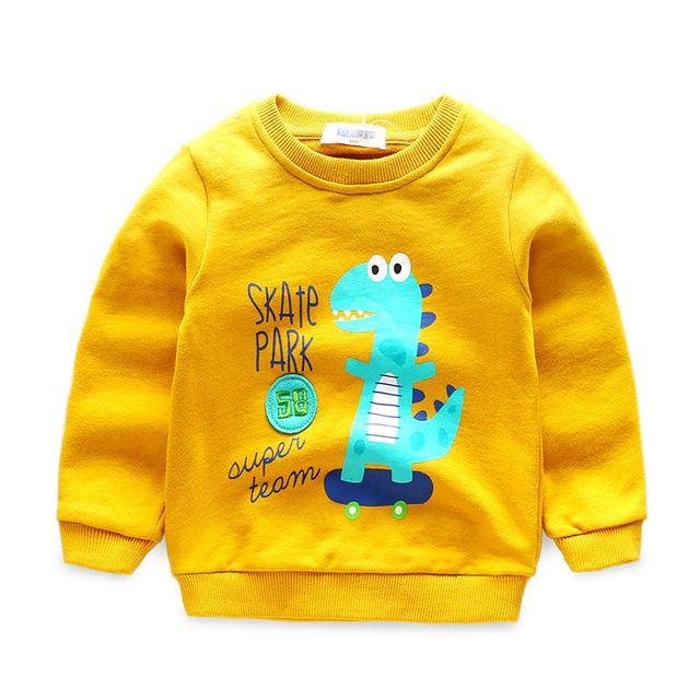 4682eaa2141a0 Haute qualité 2017 automne enfants t-shirt coton bande dessinée impression  Jurassic monde dinosaure garçon