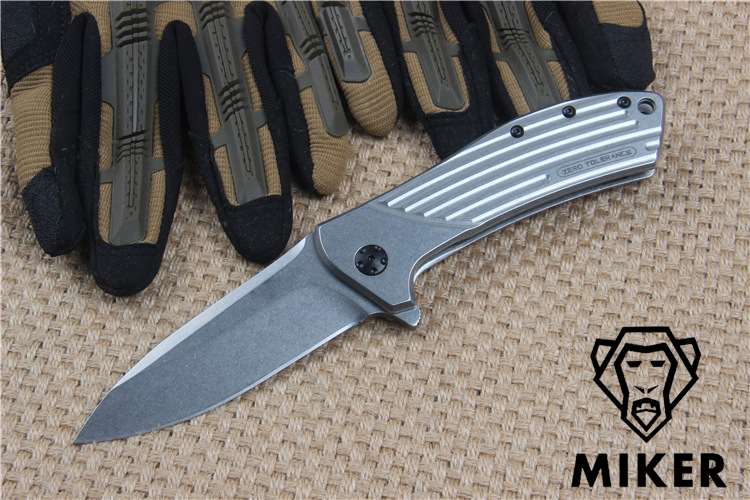 Miker Top quality  ZT0801 D2 + STEEL handle ball-bearing systemHunting Camping Survival Combat Pocket Knives Rescue EDC high quality zt h61d3 100