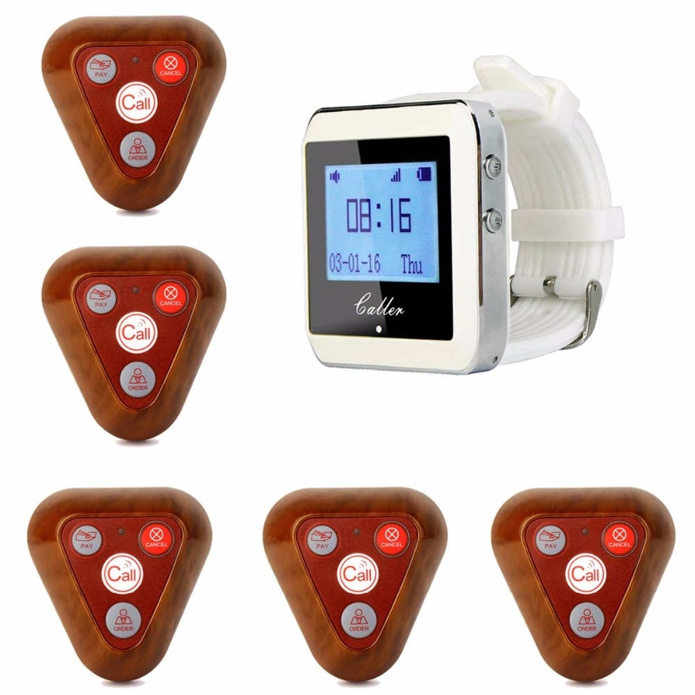 Wireless Ordering System Restaurant Pager Waiter Calling Paging System 1 Receiver Host +5 Wooden Call Button Transmitter F3288B restaurant pager wireless calling system 1pcs receiver host 4pcs watch receiver 1pcs signal repeater 42pcs call button f3285c