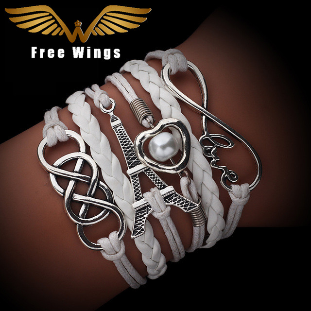 Vintage Fashion Infinite Multilayer Leather Bracelets Love 2018 Rudder 8 Bracelets For Women Charm Jewelry Accessories(China)