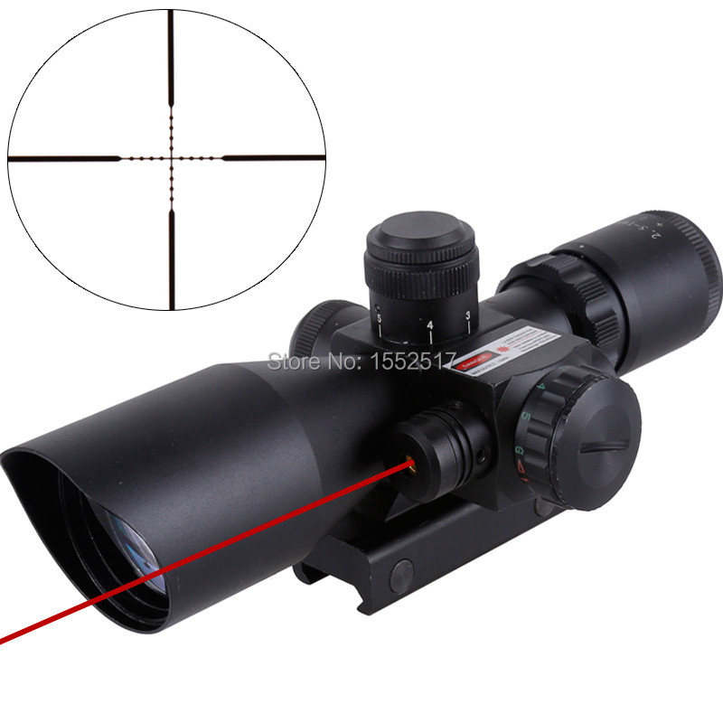 Tactical 2.5-10x40 Riflescope Red Green Dual Illuminated Mil-dot Rifle Scope With Red Laser Sight Hunting Airsoft 20mm