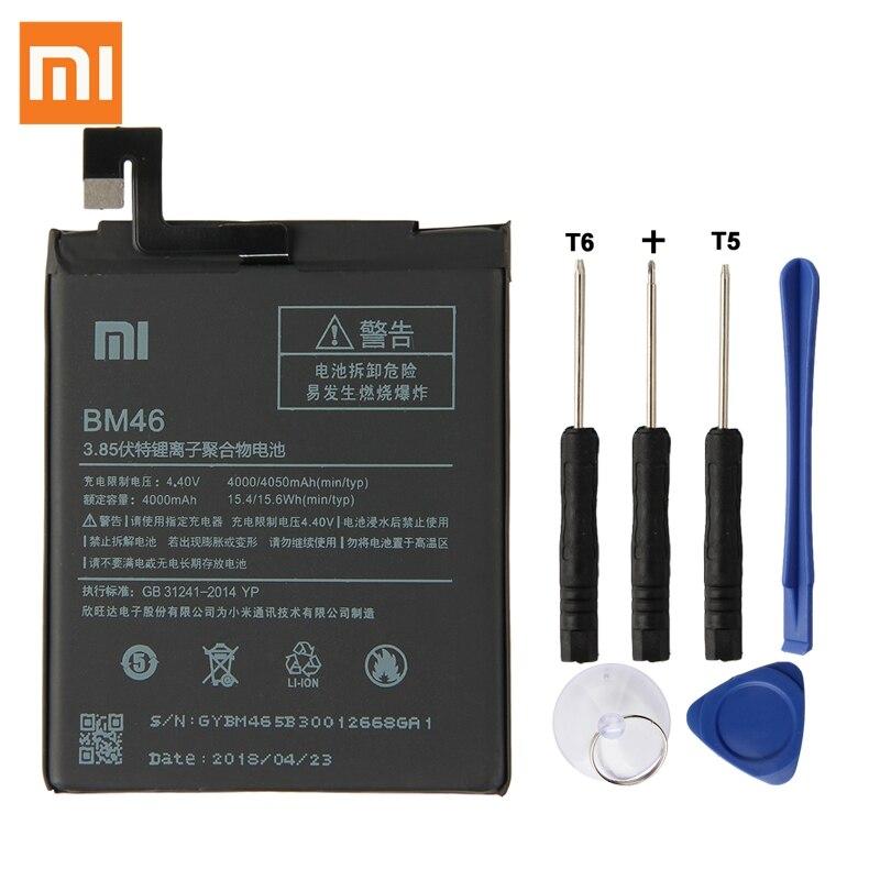 Batterie De Rechange d'origine Pour Xiaomi Redmi Note 3 Hongmi Note3 BM46 Véritable Téléphone Batterie 4050 mah