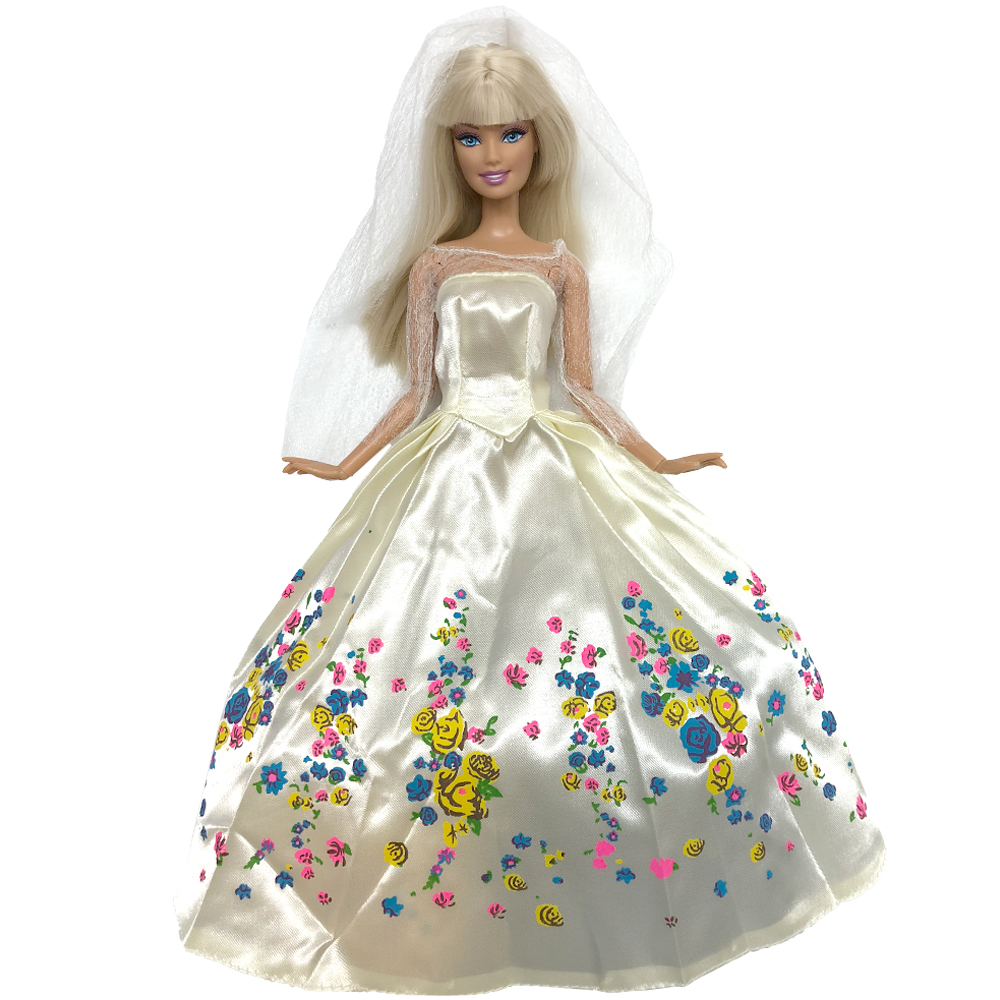 NK One Set Princess Doll Dress Similar Fairy Tale Cinderella Wedding Dress Gown Party Outfit For Barbie Doll Best Girls' Gift 1000pcs dupont jumper wire cable housing female pin contor terminal 2 54mm new