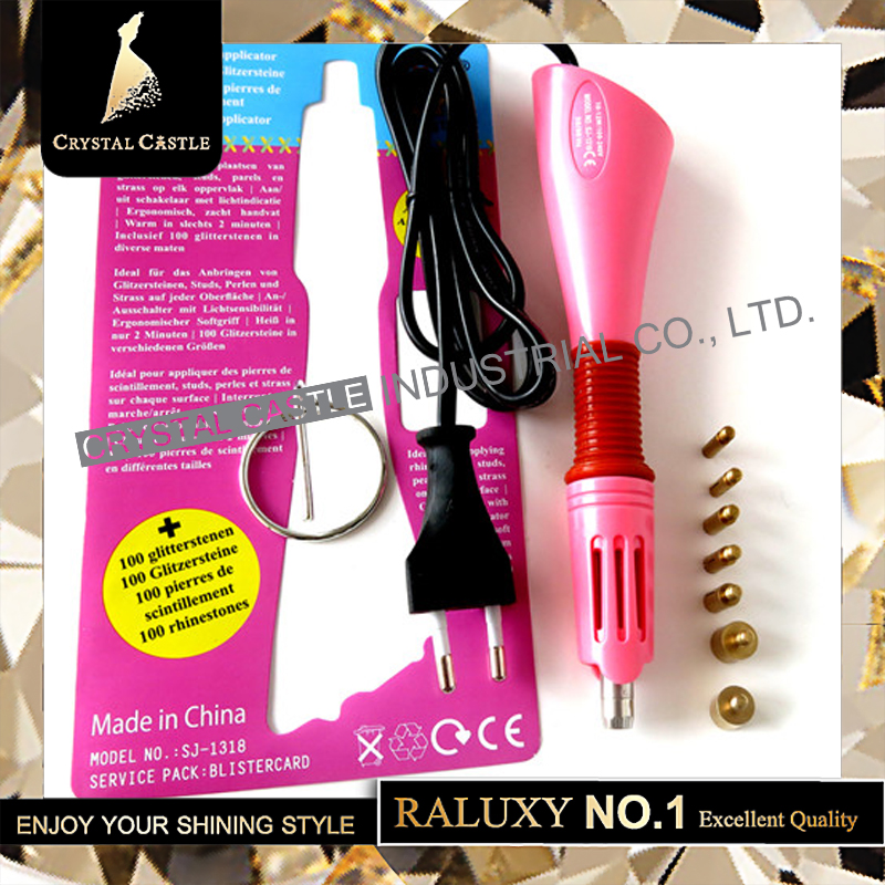 Crystal Castle Implified Rhinestone Aplicator Set Fast Heat Gun Fácil uso Crystal Hotfix Wand Iron En la máquina Hot fix Applicator