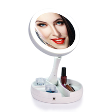 LED 10X Magnifying Makeup Mirror Double-sided Large Lighted Illuminated Foldable Vanity Mirror Travel Desktop Light Cosmetic(China)