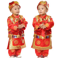 Cotton 3pcs New Year Clothing Set for Baby Boys Long Sleeve Gown+Vest+Hat Boy Children's Tang Suit Chinese Traditional Costumes