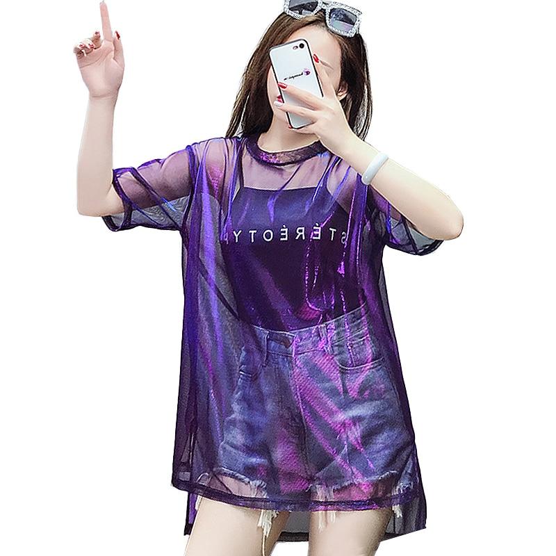 2018 Harajuku Transparent   T     shirt   Women Summer Letter Print   T  -  shirt   Punk plus size Shining Mesh Tops Short Sleeve tshirt women
