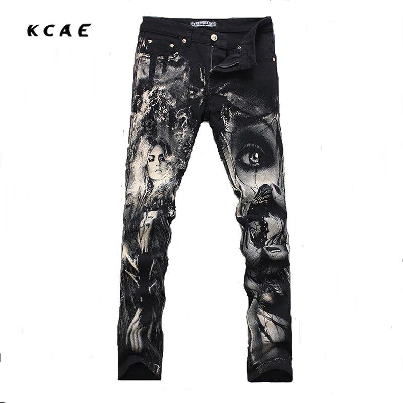 New Hot sale Vintage Black Print Men Jeans Classic Skinny Trousers