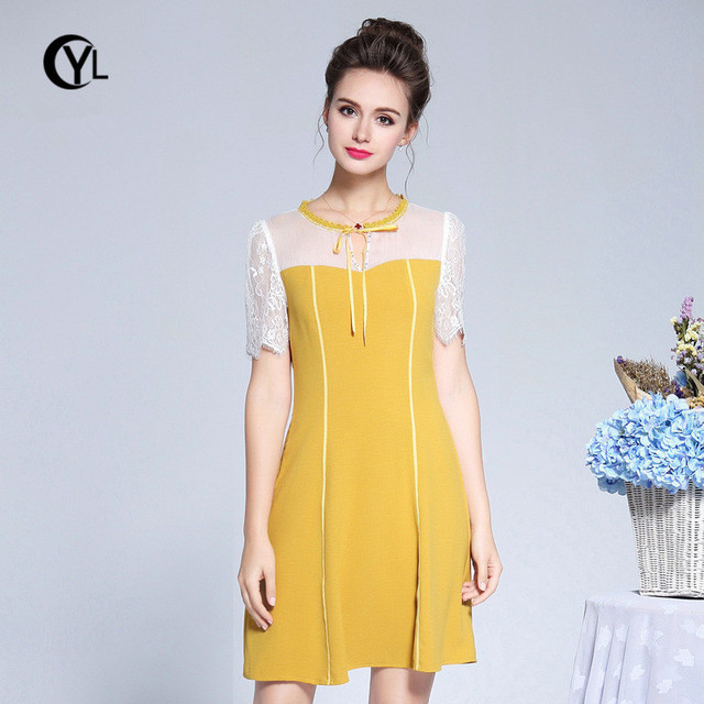 US $40.44 24% OFF|OUYALIN L 3XL 4XL 5XL Plus size Summer Dress 2018 Women  Lace Short sleeve Patchwork Yellow Lady elegant Short Party Dresses-in ...