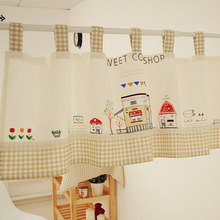 Home Decoration Cute Kitchen Curtains 140cm Width By 50cm Height Cotton  Linen Blend Fabric Partition Curtain