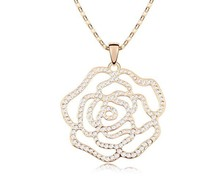 Austria Crystal Flower Rose Pendant Long Sweater Chain Necklace Costume Jewellery For Women NXL0057