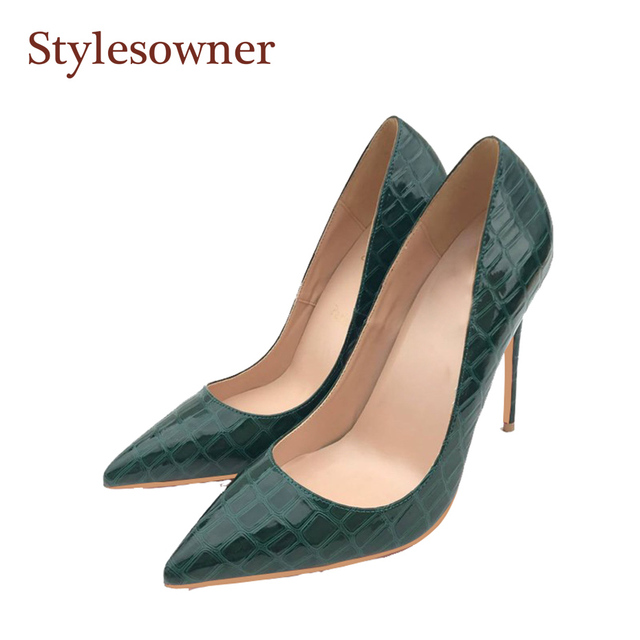 Stylesowner dark green lady high heel pumps shoes party shoes women 12 10 8cm  thin heel shallow mouth slip on zapatos 33-44 2204a407642c