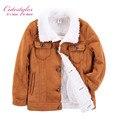 Pettigirl 2017 novos meninos inverno quente brown mangas compridas jacket casacos de peles de moda para crianças menino outerwear roupas b-dmoc908-941