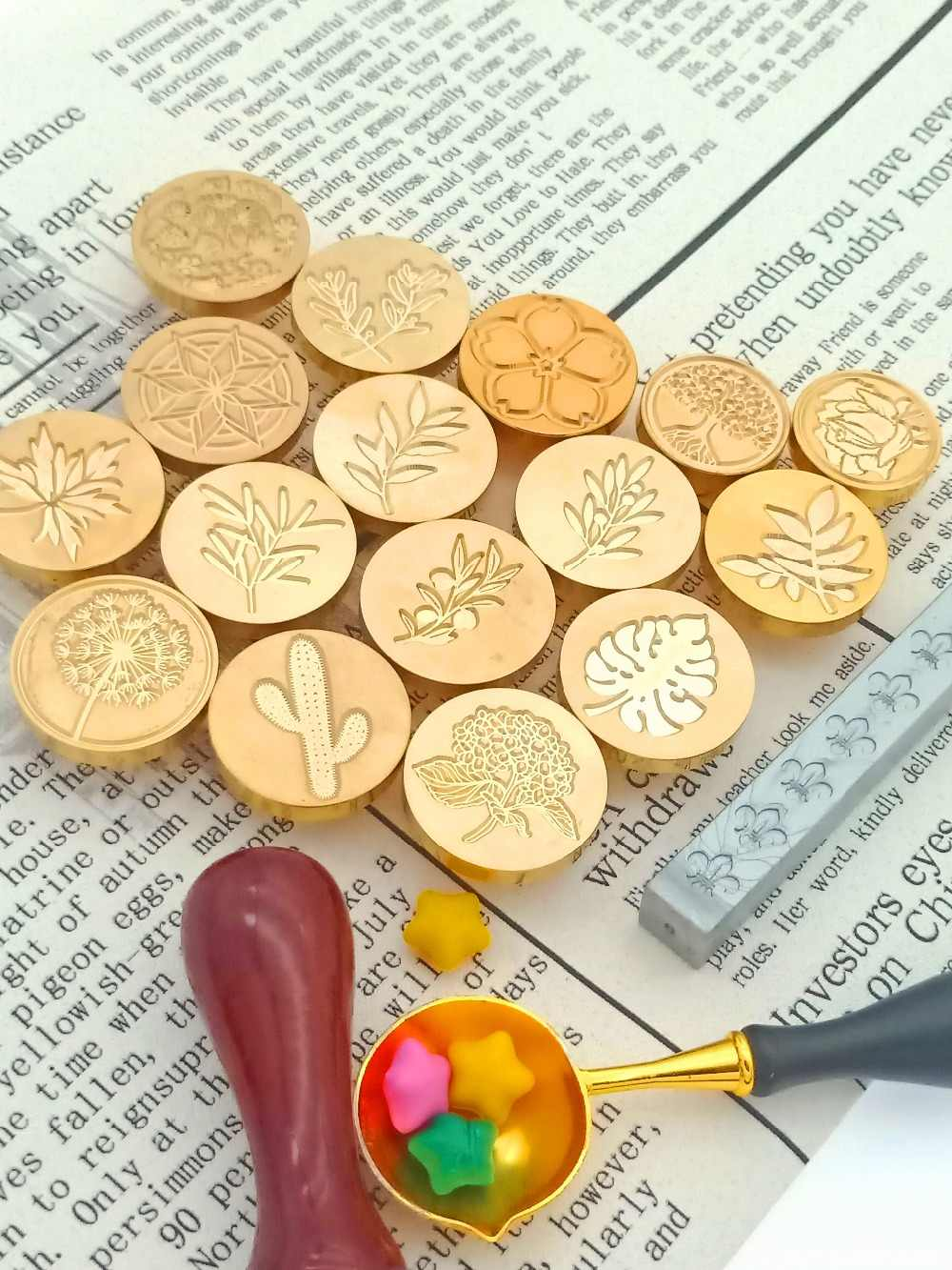 Retro Wood Stamp Plant Flower Maple Palm Ginkgo Leaves Coconut Tree Sealing Wax Seal Stamp Post Wedding Decorative Stamp