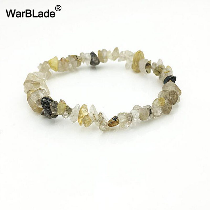 WBL 35Color Natural Gem Stone Bracelet Irregular Crystal Stretch Chip beads Nuggets Bracelets Bangles Quartz Wristband For Women 2