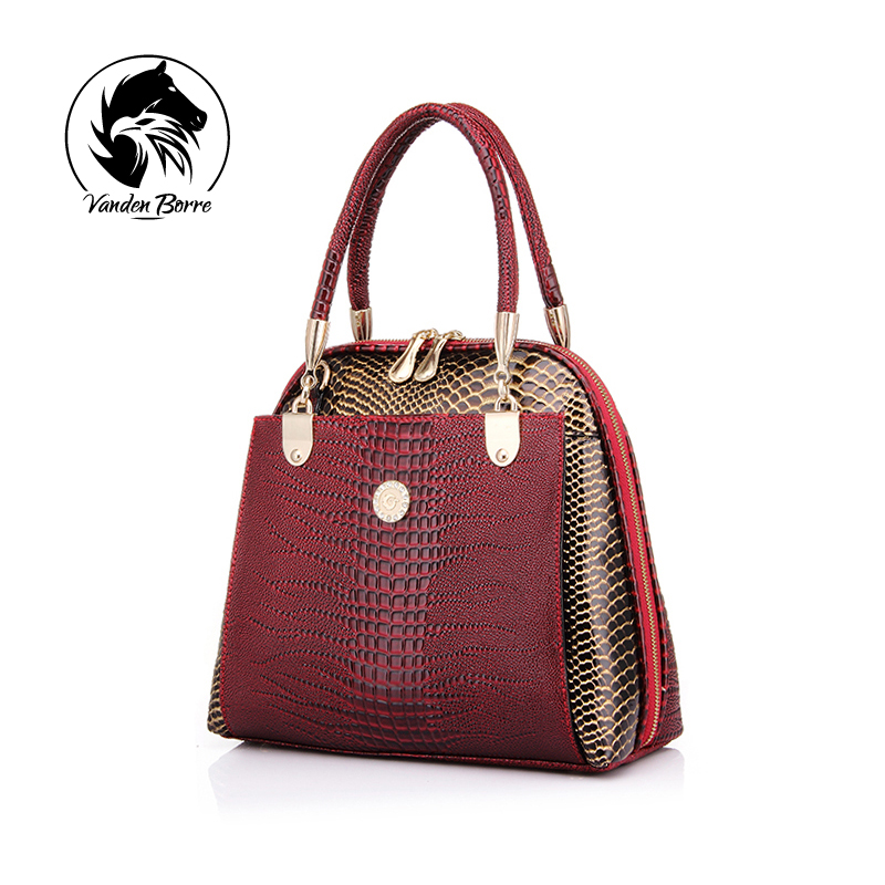 ФОТО New fashion women's shell bag high quality designer embossed handbag crocodile pattern pu leather tote bag ladies handbags