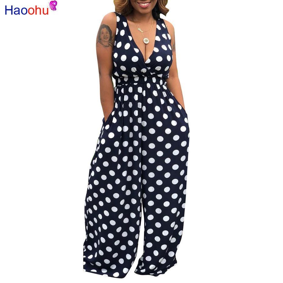 HAOOHU Polka Dot Sexy Jumpsuit Summer New Overalls One Piece Deep-V Neck Wide Leg Pant Casual Rompers Backless Womens Jumpsuits