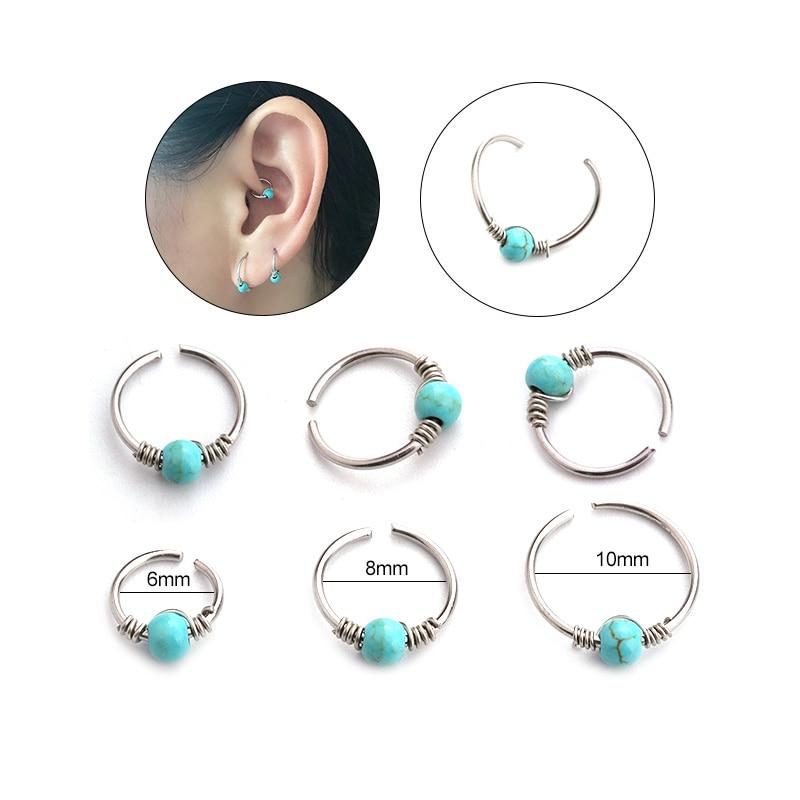3pcs Lot Blue Stone Nose Piercing 20g Septum Ring