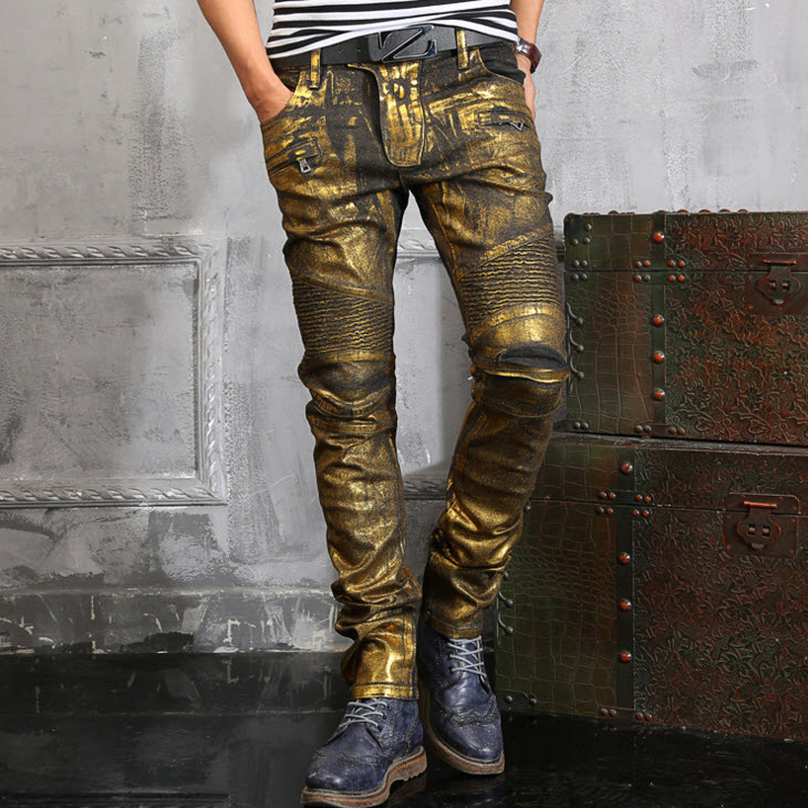 #1402 2016 Pleated Mens printed jeans Fashion Straight Gold Mens biker jeans Skinny jeans homme Joggers Hip hop jeans Skinny
