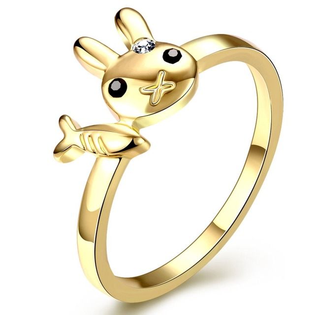 Gold Colour Cats can t eat fish Ring Design Cute Fashion Jewelry