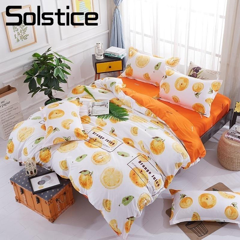 Solstice Home Textile Orange Duvet Comforter Quilt Cover Pillowcase Bed Sheet Bedding Set Girl Boy Kid Teens Bed Linen King Twin